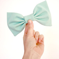 Pastel Aqua Blue Big Bow Hair Clip Upcycled/Repurposed // Slow Fashion // Something Blue