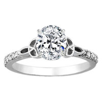 Engagement Ring - Oval Diamond Celtic Knot Engagement Ring with Diamond Accents in 14K White Gold - ES643OV