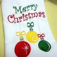 Merry Christmas Ornaments Embroidered Cloth Napkins Quality 20 X 20 In