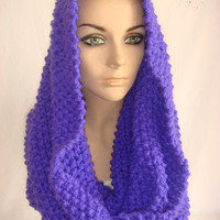 Hand Knitted Hooded Cowl/Scarf/Neck warmer (Phosphoric Purple) by Arzu's Style
