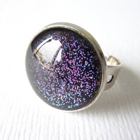 Black Glitter Ring, Color Shift Glitter, Adjustable Ring