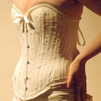 Ivory lace brocade corset - Pearls-victorian style wedding lingerie, antique style steel boned- custom made