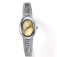 Avon: Oval Two-Tone Embellished Watch with Expansion Band