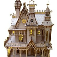 Natural Birch Wood Victorian Doll House Laser Cut by PhoenixLaser