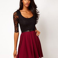Paprika Skater Dress with Lace Top at asos.com