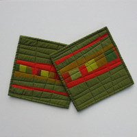 Modern Pot Holders, Green Potholders, Hot Pad, Abstract