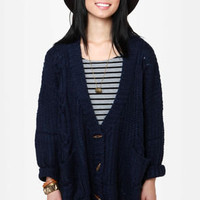 Larger Than Life Oversized Navy Blue Cardigan Sweater