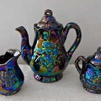 VINTAGE RETRO 1970&#x27;s Rainbow &amp; Black Tea Set