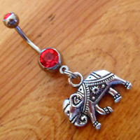 Belly button ring - Elephant Belly Button Ring