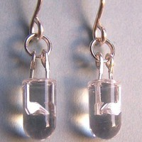 Crystal Clear LED Earrings Sterling Silver