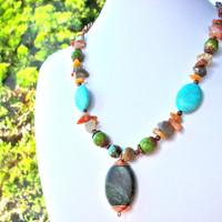 Chunky turquoise necklace, gemstone colorful necklace copper chain