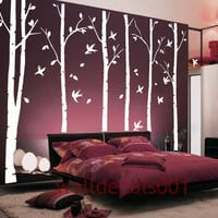 Tree Wall Decals wall Stickers - birds in birch forest -6 100&quot; birch trees
