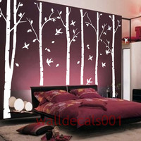 "Tree Wall Decals wall Stickers - birds in birch forest -6 100"" birch trees"