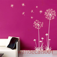 "Dandelions Wall Decals Wall stickers,decal,sticker,Kids,baby,nursery,decor,Art 60"" tall"