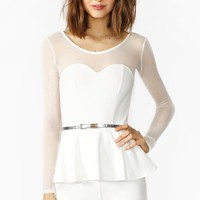 Peplum Mesh Romper - Ivory