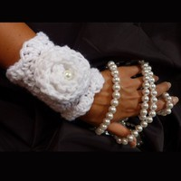 Elegant Crochet Flower Cuff by Mademoiselle by mademoisellemermaid