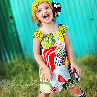 Girls Peasant Dress . Tunic . Floral Garden . Children's Clothing