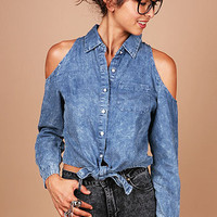 Denim Peep Button Down - Denim Button Down Shirts at Pinkice.com