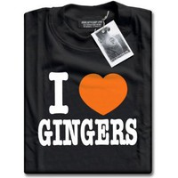 HotScamp Premium I Love Heart Gingers Unisex Black T-Shirt Top: Amazon.co.uk: Clothing