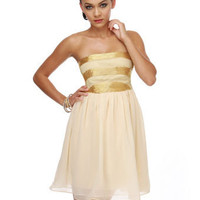 Gorgeous Strapless Dress - Beaded Dress - Gold Dress - Ivory Dress - $86.00