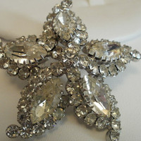 Sherman brooch vintage 1940s crystal domed snowflake by denise5960