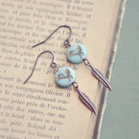 bluebird and feather earrings by bellehibou on Etsy