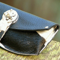 Women's Leather Wallet - Steampunk Cream and Black Hair-on with Silver Hardware