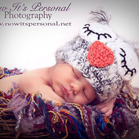 Crochet Baby Hat  Gray Owl  Newborn to 3 by AdornmentsByDesign