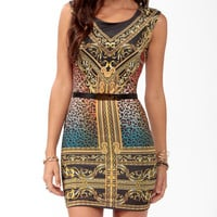 Wild Scarf Print Bodycon Dress
