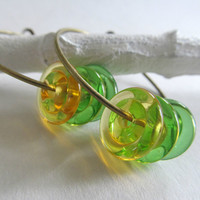 Glass earrings- Antique copper hoops with citrus colored hand blown glass beads