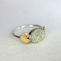 Shiny Silver Snow White Drusy Ring with Hearts- Handmade by Rachel Pfeffer