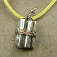 TNT Stick Pendant in Fine Silver - Dynamite Bundle Necklace - Explosive Jewelry - Industrial Bomb - Pyrotechnic - Trinitrotoluene - 1-Off