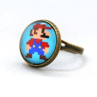 10% SALE - Ring 8 Bit Super Mario Stand Ready Nintendo Jewelry Kawaii