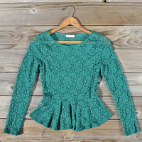 Hazy Pine Lace Blouse , Sweet Bohemian Clothing