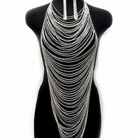 Silver multi strand chian necklace by donnaashley on Sense of Fashion