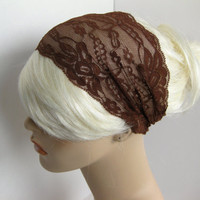Wide Stretch Lace Headband Brown Head Wrap Women&#x27;s Hairband Head Covering
