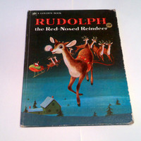 Rudolph the Red-Nosed Reindeer - 1972 BIG Vintage Golden Book
