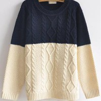 Color Block Round Neck Sweater Navy S004986