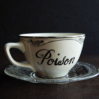 Poison &amp; Toxic Painted Teacup and Saucer by TheVintageParlor
