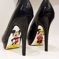 Custom hand painted Mickey Mouse and Minnie Mouse Pumps