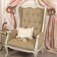 Bella Chateau French Style White Washed French Carved Reproduction Armchair - $995 - The Bella Cottage