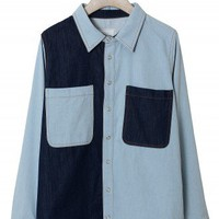 Patch Oversize Denim Shirt by Chic+ - New Arrivals - Retro, Indie and Unique Fashion