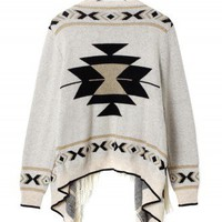Aztec Fringe Fairisle Cape in Beige - New Arrivals - Retro, Indie and Unique Fashion