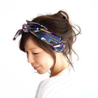 Tie Up Headscarf Abstract Chevron Triangles