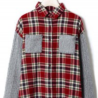 Cable Knit Check Shirt in Red/Grey by Chic+ - New Arrivals - Retro, Indie and Unique Fashion