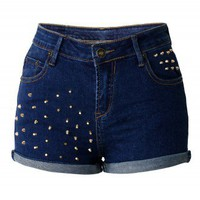 Studs Denim Shorts by Chic+ - New Arrivals - Retro, Indie and Unique Fashion