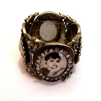 Audrey Hepburn Picture Bracelet, Breakfast at Tiffany's Statement Bracelet, Movie Art Jewelry