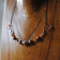 Necklace with African Bead Copper and Wood
