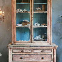 Antique Cabinet from Pyrenees in White and Blue - $8800 - The Bella Cottage