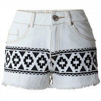 Aztec Tribal Stitch Shorts by Chic+ - Retro, Indie and Unique Fashion